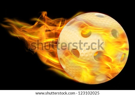 flying foorball ball on fire