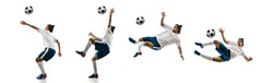 Flying. Football player in motion and action isolated on white background, kicking ball in dynamic. Concept of activity, movement, healthy lifestyle, expression of sport. Young male sportsman.