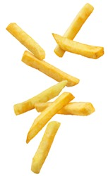Flying french potato fries, isolated on white background