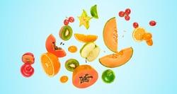 Flying fruits healthy summer background. Papaya, orange, kiwi, melon. Levitation, falling fly fruit on blue. Tropical creative concept. Colorful fruity summertime vivid design