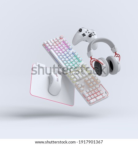 Flying gamer gears like mouse, keyboard, joystick, headset, VR Headset on white table background. 3d rendering of accessories for live streaming concept top view