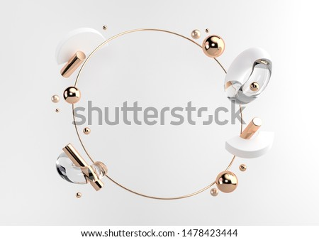 Flying geometric shapes in motion with golden round frame. Dynamic set of realistic spheres, rings, tubes. Modern background for product design show in white color. 3d render illustration.