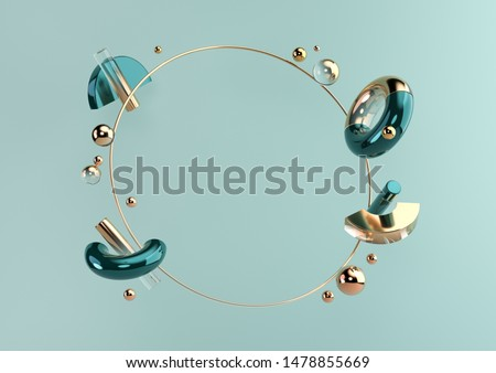 Flying geometric shapes in motion with golden round frame. Dynamic set of realistic spheres, rings, tubes. Modern background for product design show in dark turquoise color. 3d render illustration.