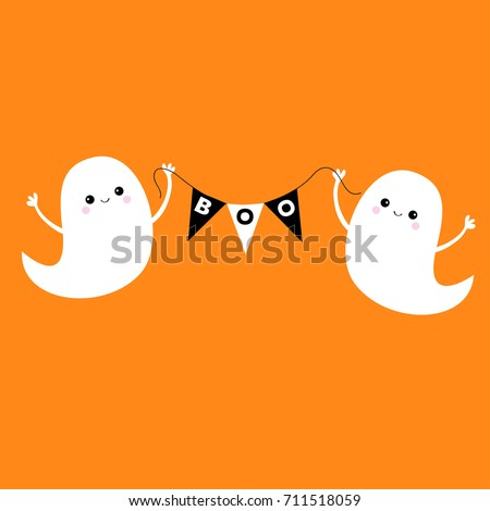 Flying ghost spirit holding bunting flag Boo. Happy Halloween. Two scary white ghosts. Cute cartoon spooky character. Smiling face, hands Orange background Greeting card Flat design.