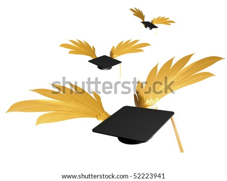 Flying Graduation Caps Stock Photo 52223941 : Shutterstock