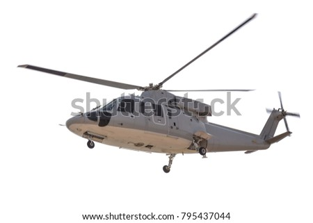Flying grey helicopter of Thai army isolated on the white background