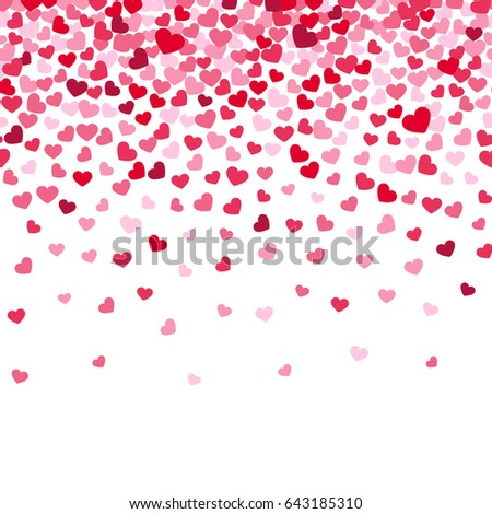 Flying heart confetti, valentines day background, romantic love simple texture