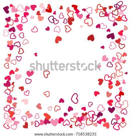 Flying Hearts Frame Image Border Background Illustration With Heart