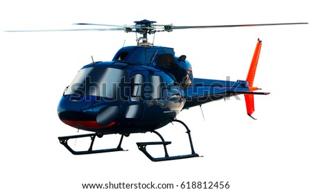 Flying helicopter isolated on white background