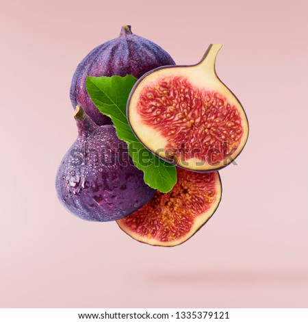 Flying in air fresh ripe whole and cut Figs  isolated on pastel pink background. High resolution image
