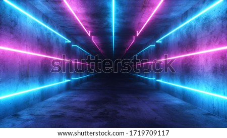 Flying in an abstract blue and purple futuristic interior. Corridor with neon luminous fluorescent lamps turned on. Futuristic architecture background. Concrete wall. 3d illustration