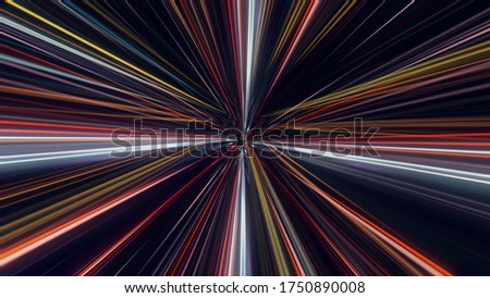 Flying in space with luminous neon lines. Animation. Jump in hyperspace with colorful light beams on black background, seamless loop. stock photo