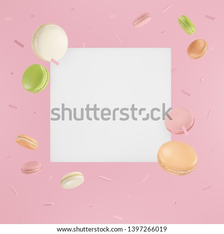 flying in the air white square with pink macaroons, green macaroons, white macaroons, orange macaroons on pink 3D rendering background