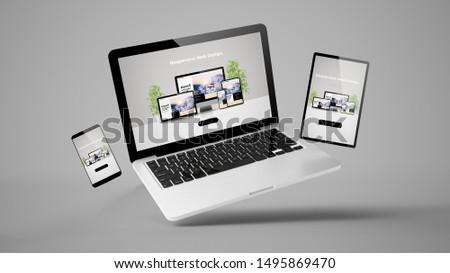 flying laptop, mobile and tablet 3d rendering showing  responsive web design
