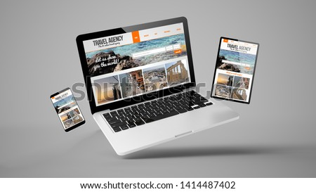 flying laptop, mobile and tablet 3d rendering showing travel agency responsive web design