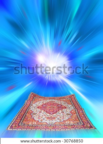 flying magic carpet on motion abstract background