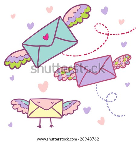 Flying mail symbol - cartoon envelopes - stock photo