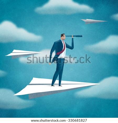 Flying manager. Business illustration.