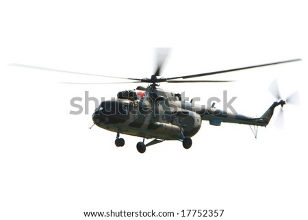 Flying military  helicopter in the sky