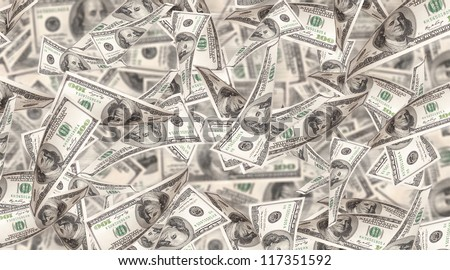 Flying Money - american dollars background