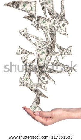 Flying Money - american dollars isolated on a white background