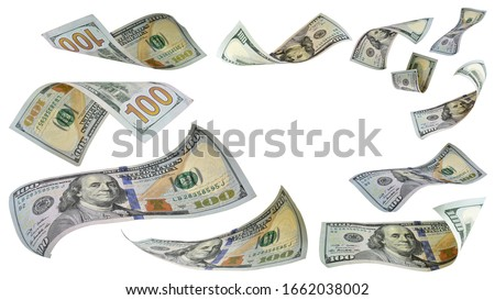 Flying money 100 dollar bank note isolated on white background. This has clipping path.  stock photo