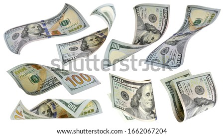 Flying money 100 dollar bank note isolated on white background. This has clipping path.