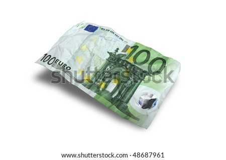 Flying Money -100 euro on white background - stock photo