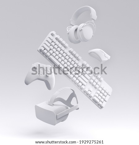 Flying monochrome gamer gears like VR glasses, headphones, keyboard, mouse and joystick on white background. 3d rendering of accessories for live streaming concept top view