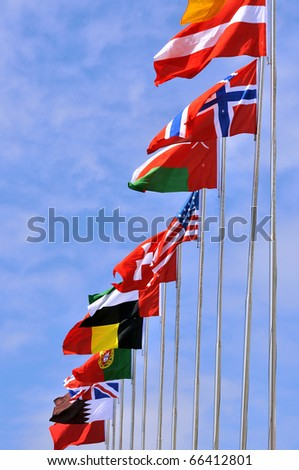 Flying national flags of different country