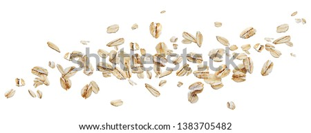 Flying oat flakes isolated on white background with clipping path, falling oats collection, top view Stock photo ©