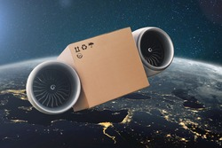 Flying on turbines cardboard box. Super fast express delivery concept. Delivery of cargo in space with amazing blue planet earth.