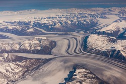 Flying over eastern Greenland in late summer time en route from
