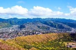 Flying over Oahu island in Hawaii, USA
