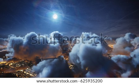 Flying over the deep night timelapse clouds with moon light. Seamlessly looped animation. Flight through moving cloudscape over night city lights. Perfect for cinema, background, digital composition. #625935200