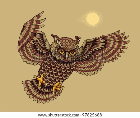 Flying Owl Bird. Vector illustration.