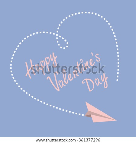 Flying paper plane. Dashed heart in the sky. Happy Valentines Day card. Flat design. Serenity, pink rose quartz color.