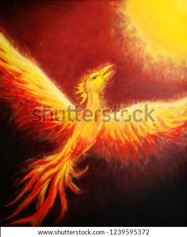 Flying phoenix bird as symbol of rebirth and new beginning.