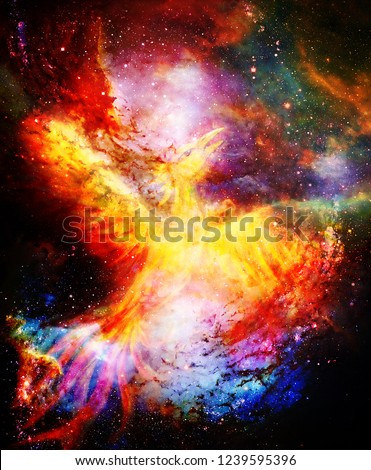 Flying phoenix bird as symbol of rebirth and new beginning in cosmic space.