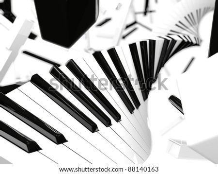 Flying piano keys background