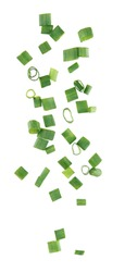 Flying pieces of chopped green onion on white background
