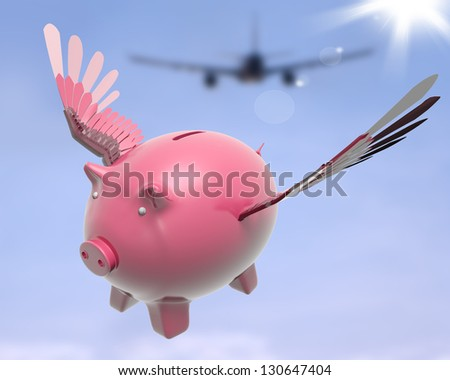 Flying Piggy Showing Sky High Future Success