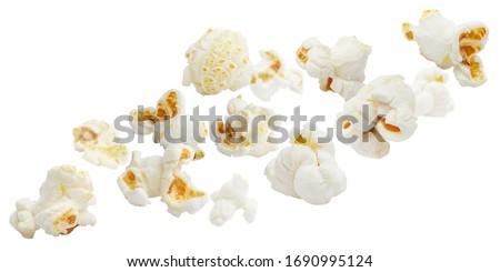 Flying popcorn, isolated on white background