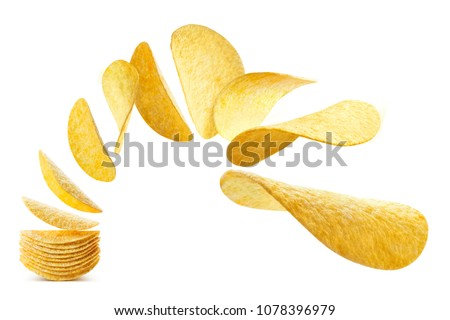 Flying potato chips, isolated on white background