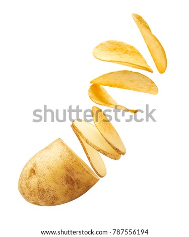 Flying potato slices turning into chips isolated on white background