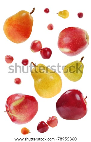 flying red apples and colorful pears on white  background