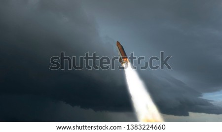 Flying rocket. Rocket launch. The elements of this image furnished by NASA. #1383224660