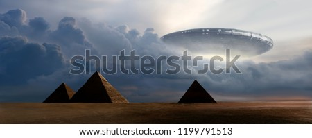 Flying  saucer coming out from clouds on pyramids - 3D rendering