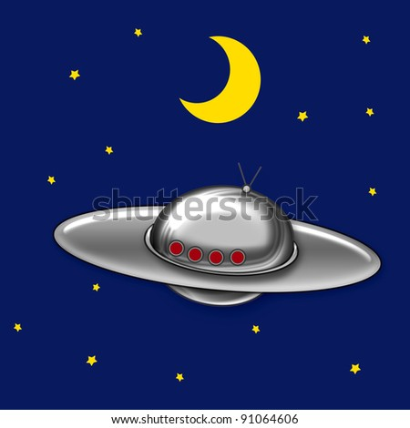 flying saucer in night sky with stars and moon illustration