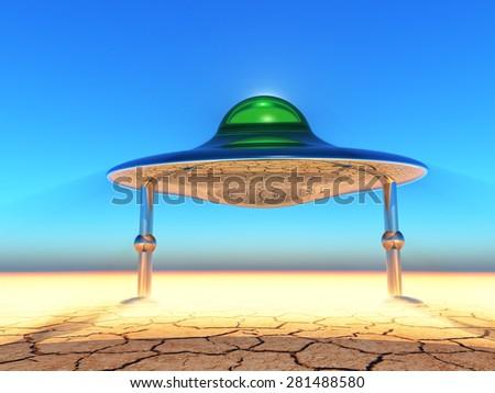 flying saucer landing in the desert